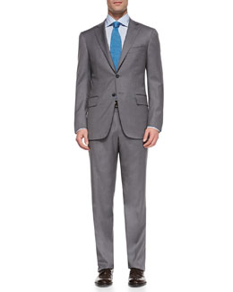Isaia Wool Two-Button Suit, Gray Bicolor