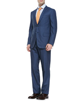 Isaia Check Two-Button Suit, Blue/Gray