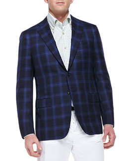 Kiton Cashmere-Silk Plaid Sport Coat, Navy