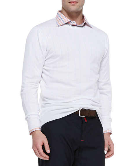 Cotton Long-Sleeve Sweater, White/Navy