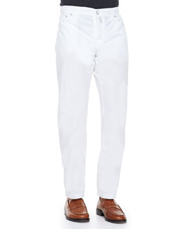 Kiton Poplin Casual Trousers,  White