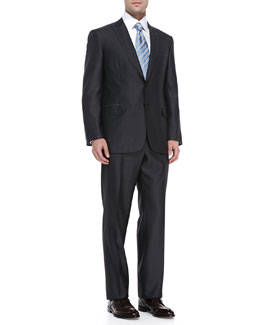 Brioni Tic Pattern Suit, Charcoal