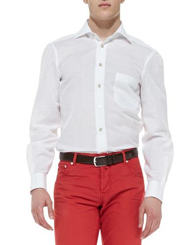 Kiton Linen-Blend Woven Solid Dress Shirt, White