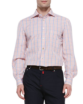 Woven Check Dress Shirt, Orange/Blue