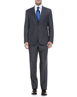 Brioni Checked Wool Two-Piece Suit, Gray/Blue