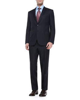 Brioni Herringbone Suit, Navy