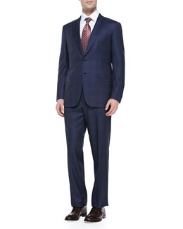 Brioni Wool Tonal Plaid Two-Piece Suit, Blue