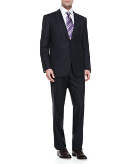 Brioni Pinstriped Suit, Navy/White