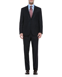 Brioni Wool Plaid Two-Piece Suit, Black