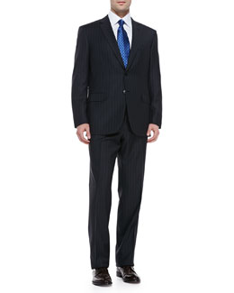 Brioni Striped Suit, Charcoal/Blue