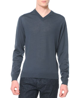 Lanvin Wool-Knit V-Neck Sweater, Bluish Gray