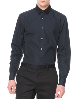 Lanvin Contrast Collar Button-Down Shirt, Navy