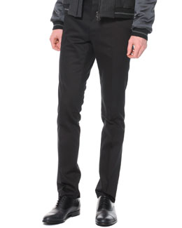 Lanvin Techno-Stretch Skinny Pants, Black