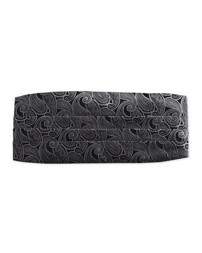 Neiman Marcus Paisley Silk Cummerbund, Black/Silver