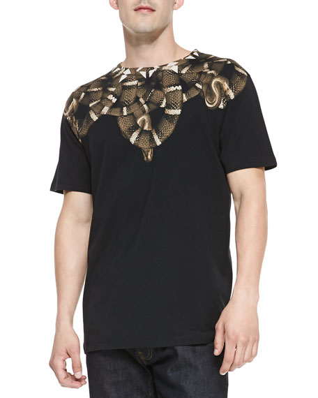 Snake-Print Jersey Tee, Black