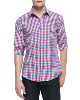 Zachary Prell Box-Check Woven Shirt, Pink Multi