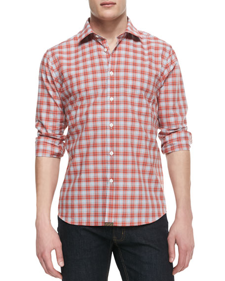 Long-Sleeve Button-Down Plaid Shirt, Burnt Orange/Multicolor