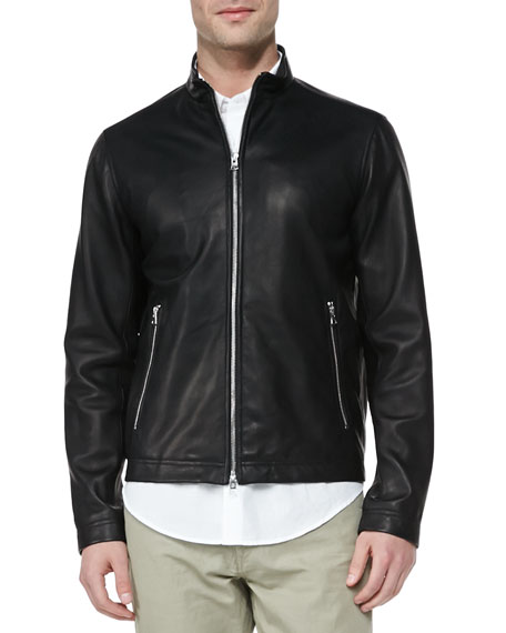Morvek L Leather Moto Jacket, Black
