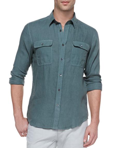 Gerald Linen Shirt, Green