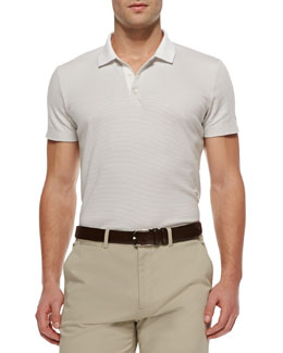Theory Boyd Polo in Census Stripe, White