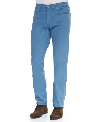 AG Adriano Goldschmied Protege Shaded Blue Sueded Stretch Sateen Jeans