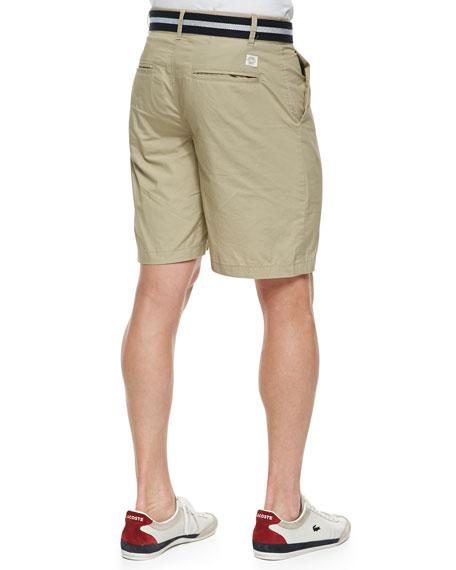 Khaki Flat Front Paper Twill Shorts