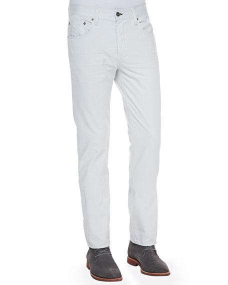 Distressed Straight-Leg Jeans, Glacier White