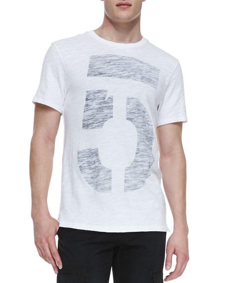 No. 5-Print Jersey Crewneck Tee, White