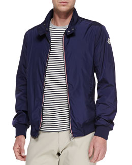 Moncler Nylon Front-Zip Jacket, Navy