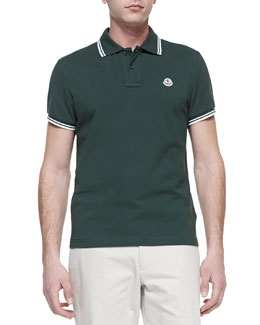 Moncler Moncler Tipped Pique Polo, Dark Green