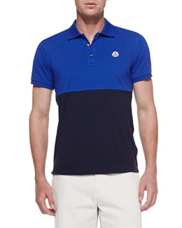 Moncler Colorblock Polo Shirt, Royal Blue/Navy