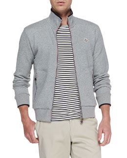 Moncler Maglia Web-Detail Track Jacket, Heather Gray