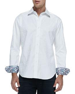 Robert Graham Salisbury Tonal-Jacquard Sport Shirt, White