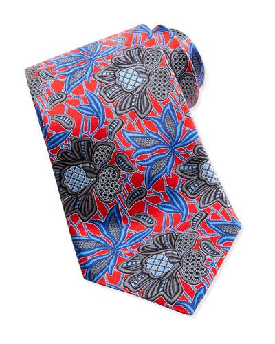 Ermenegildo Zegna Oversized Floral-Print Silk Tie, Red