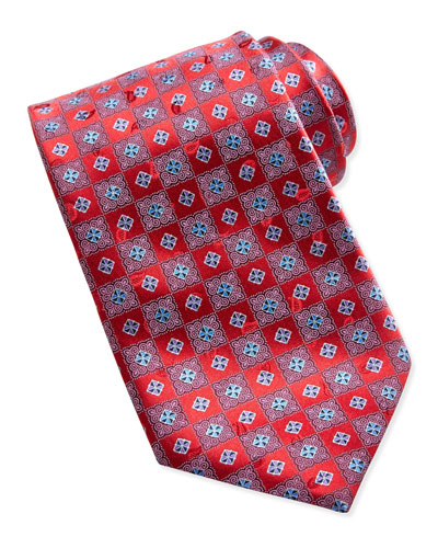Ermenegildo Zegna Checkerboard Medallion Tie, Red
