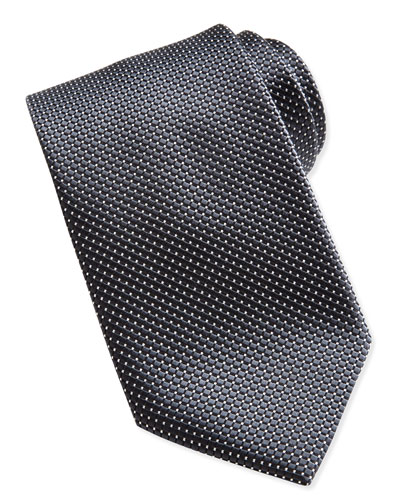 Ermenegildo Zegna Textured Check & Dot Silk Tie, Black