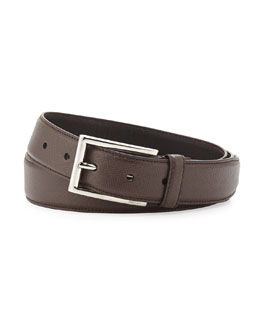 Prada Saffiano Rectangle-Buckle Belt, Brown