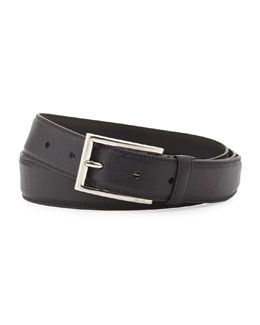 Prada Saffiano Rectangle-Buckle Belt, Black