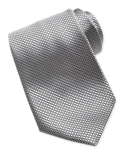 Ermenegildo Zegna Textured Check & Dot Silk Tie, Silver