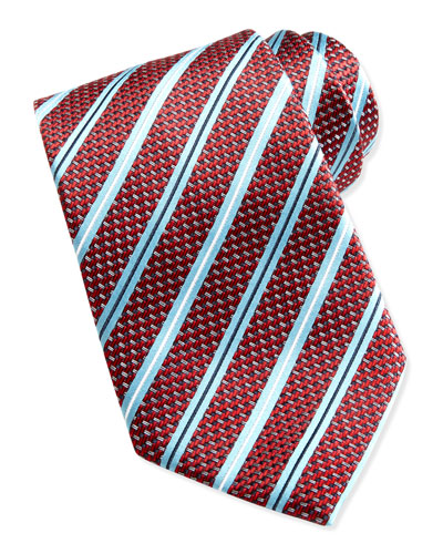 Ermenegildo Zegna Woven Satin-Stripe Silk Tie, Red