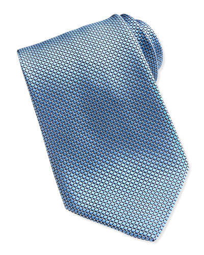 Ermenegildo Zegna Textured Check & Dot Silk Tie, Light Blue