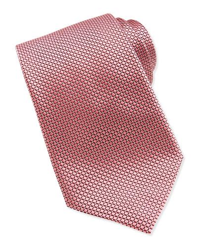 Ermenegildo Zegna Textured Check & Dot Silk Tie, Pink