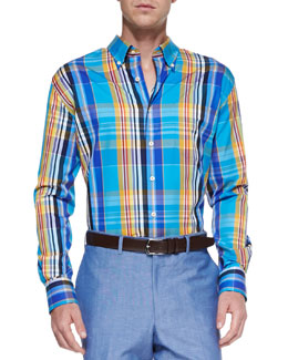 Peter Millar Long-Sleeve Plaid Weekend Shirt, Blue