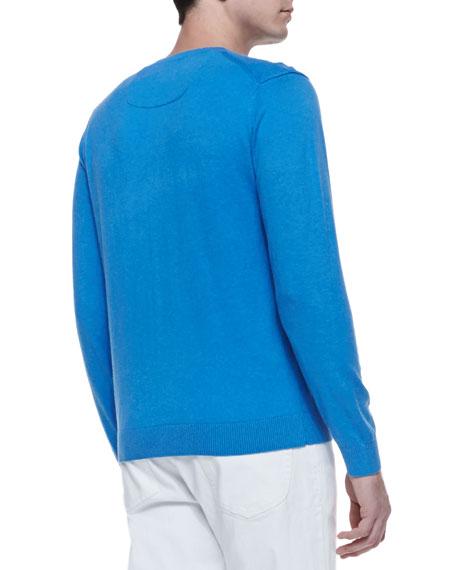 Shoulder-Detail Crewneck Sweater, Blue