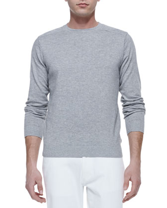 Shoulder-Detail Crewneck Sweater, Dark Gray