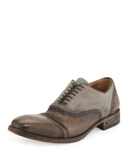 John Varvatos Leather & Canvas Double-Bal Oxford, Tan