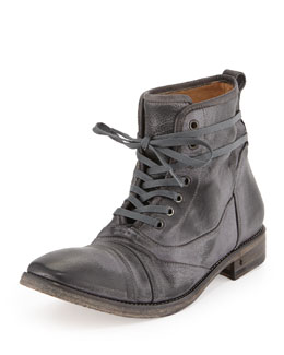 John Varvatos Fleetwood Lace-Up Leather Boot, Metallic