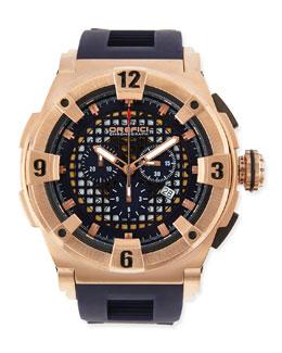 Orefici Watches Regatta Evolution Chronograph Watch, IP Rose Gold/Blue