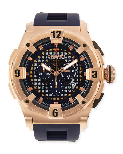 Orefici Watches Regatta Evolution Chronograph Watch, IP Rose Gold/Blue