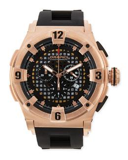 Orefici Watches Regatta Evolution Chronograph Watch, IP Rose Gold/Black
